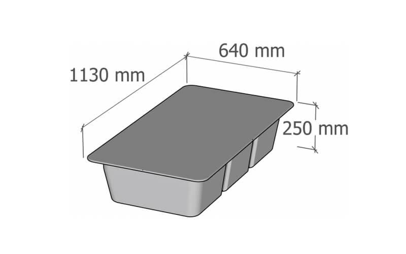 plastikinio pontono matmenys 134L
