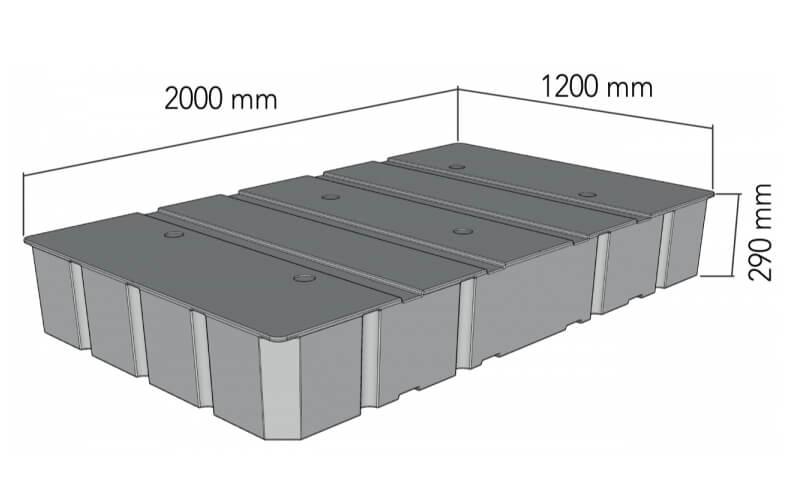 plastikinio pontono matmenys 700L